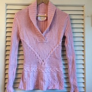 Pink Wool blend v-neck sweater